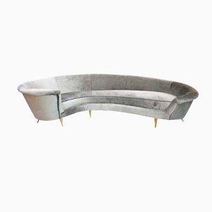 Sofá curvo de terciopelo, años 60