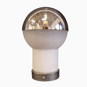 Italienische Tischlampe aus Glas & Verchromtem Metall, 1970er
