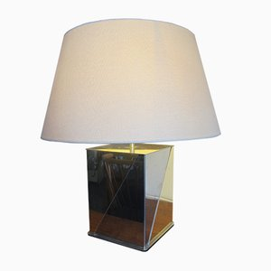 Lámpara de mesa francesa vintage de acero y latón, años 70
