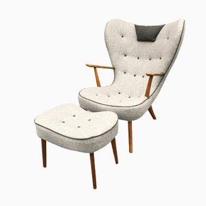Danish Pragh Lounge Chair and Ottoman by Madsen & Schübel, 1960s