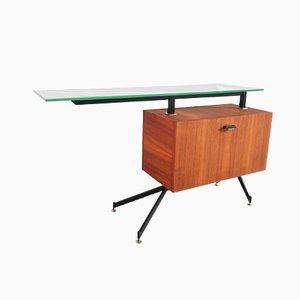 Mueble bar italiano modernista con superficie de vidrio flotado grueso y detalles de latón, añso 50