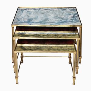 Brass Nesting Tables with Mirrored Top from Maison Jansen, 1950s