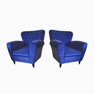 Velvet Blue Armchairs by Guglielmo Ulrich, 1950s, Set of 2
