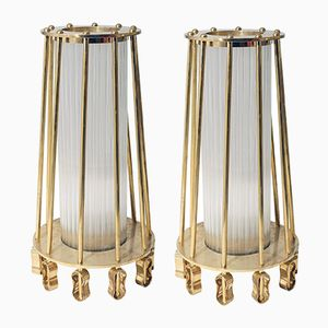 Glass and Brass Floor Lights from Venini, Set of 2