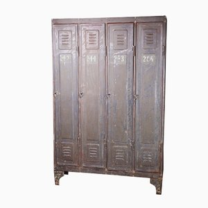 Industrial Metal Four-Door Locker, 1890s