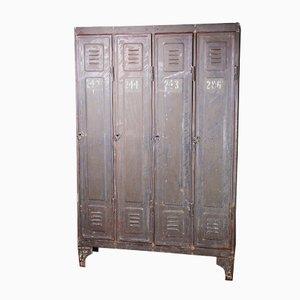 Industrieller Metall Spind mit Vier Türen, 1890er
