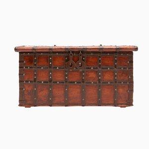 Antike Spanische Holz & Metall Truhe