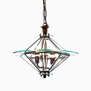 Farol de dos lámparas de vidrio y latón, años 40