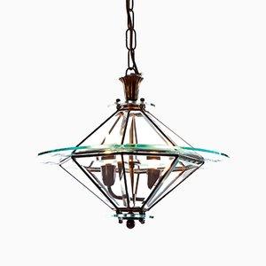 Lanterne à Deux Lampes en Laiton et en Verre, 1940s