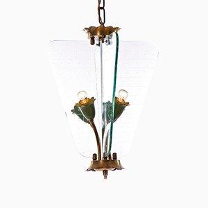 Laterne mit 4 Leuchten aus Geschliffenem Glas, 1940er