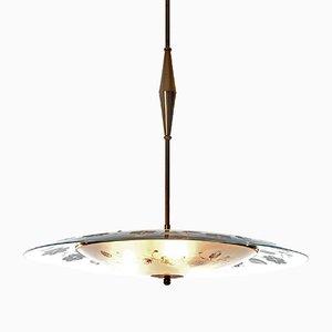 Lampada a sospensione a tre luci in ottone e vetro, anni '40