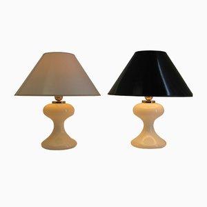 Lampes de Bureau ML 1 Blanches en Verre par Ingo Maurer, 1967, Set de 2