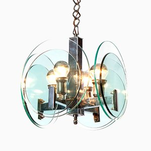 Lámpara de 4 luces de cromo, años 60