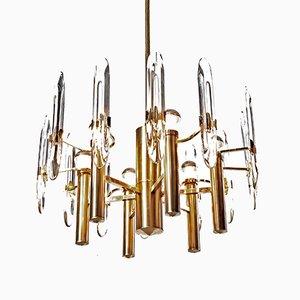 Lampadario a 6 luci in ottone e cristallo, laminato in oro di Gaetano Sciolari, anni '60
