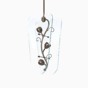 Lámpara colgante italiana con flores de latón, años 30