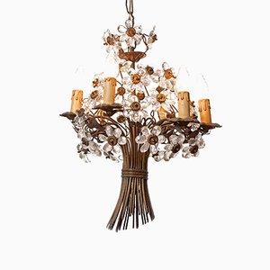 Lampadario vintage con sei luci e fiori in bronzo e cristallo di Maison Baguès