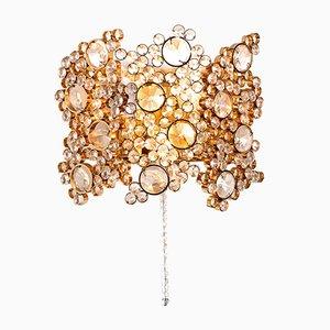 Aplique de latón dorado y piezas de vidrio en forma de diamante de Palwa, años 60