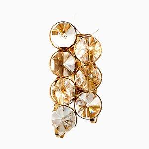 Applique a forma di diamante a due luci in ottone dorato e vetro di Palwa, anni '60
