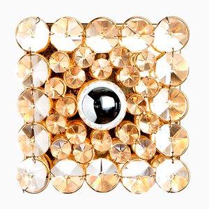 Aplique cuadrado de latón dorado y cristal de Palwa, años 60