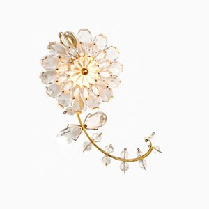 Gold-Plated Brass and Crystal Glass Sconce