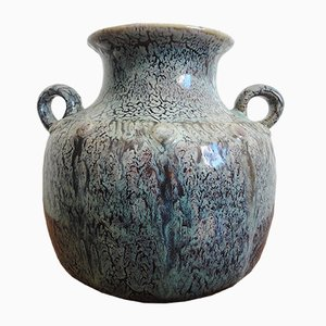 Französische Emaillierte Steingut Vase von Puisaye