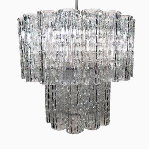 Lampadario vintage tubulare in cristallo di Murano