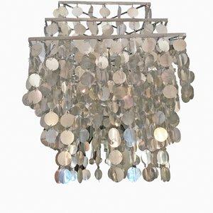 Französische Stahl Deckenlampe, 1970er