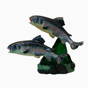 Forellen Lampe aus Keramik von S. R. Bonome, 1950er