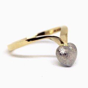 Anello in oro 14 kt decorato con cuore argentato di MPG
