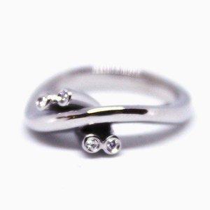 Ring aus 14kt Weißgold mit 4 Diamanten von P.Bo