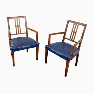 Blaue Art Deco Stühle, 2er Set