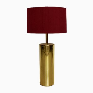 French Golden Table Lamp with Fuchsia Shade, 1970s