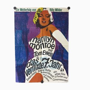 Vintage German The Seven Year Itch Film Poster, 1955