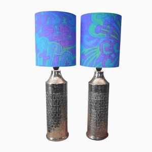 Glazed Ceramic Table Lamps by Bitossi for Bergboms, 1965, Set of 2