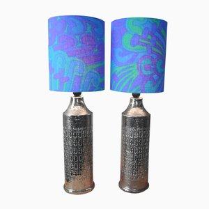 Lampade da tavolo in ceramica smaltata con paralumi blu di Bitossi per Bergbom, 1965, set di 2