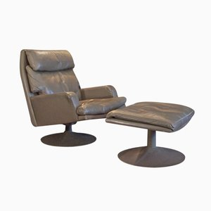 Large Vintage Leather Swivel Chair and Ottoman from Akwita, 1970s