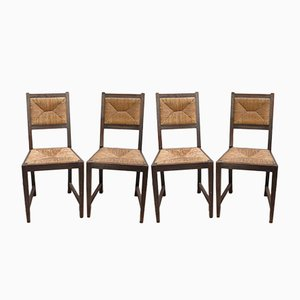 German Art Nouveau Raffia Chairs, 1920s, Set of 4