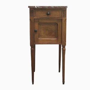 Vintage German Art Nouveau Bedside Table with Marble Top