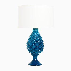Hellblaue Französische Crauquele Keramik Tischlampe von Pol Chambost, 1970er