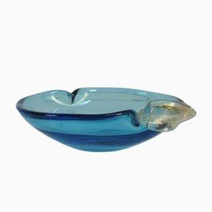 Cuenco italiano de cristal de Murano azul, años 50