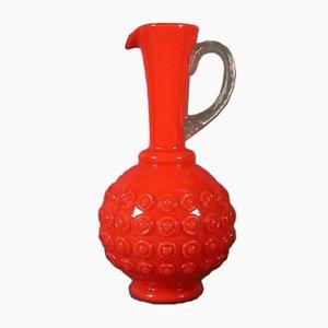 Jarra italiana grande de cristal de Murano rojo, años 50