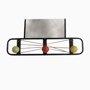French Coat Rack with Balls and Mirror, 1950s