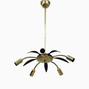 Lampada da soffitto vintage in ottone e metallo nero, Italia