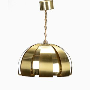 Danish Mid-Century Brass Pendant Lamp by Werner Schou for Coronell Electro
