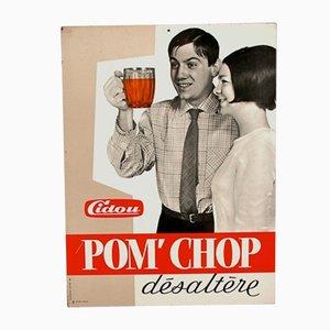 Cartel publicitario francés vintage de metal para Cidou Pom´Chop