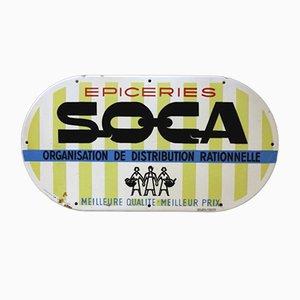Signe en Email Vintage SOCA Sign, France, 1950s