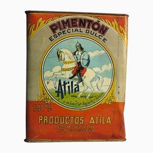 Spanische Vintage Atila Pimenton Blechdose Reklame