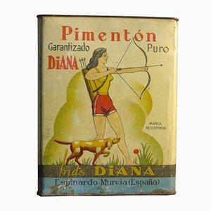 Publicidad española grande de estaño de Diana Pimenton