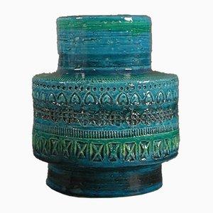 Jarrón Rimini Blu italiano de cerámica de Aldo Londi para Bitossi, años 50