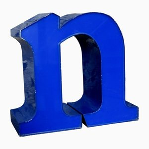 Blue Decorative Lowercase Letter N, 1970s
